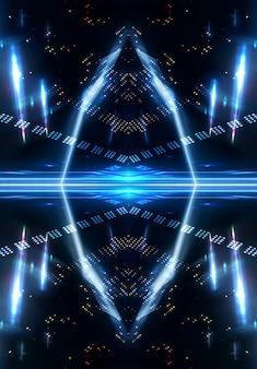 Effet de lumière, arrière-plan flou, reflets néon sur le sol en béton. fond abstrait sombre