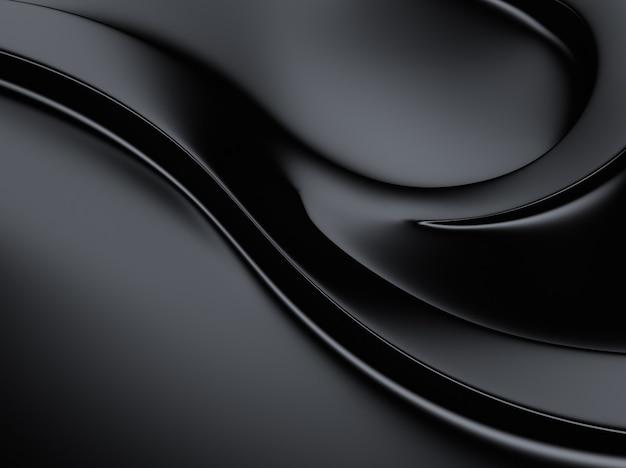 Élégant fond métallique noir avec des courbes et un espace pour le texte