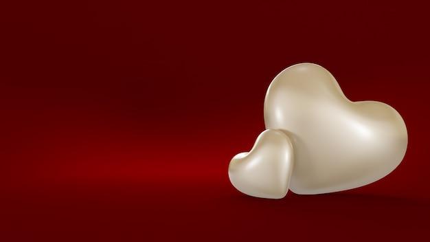 Élégant fond rouge avec deux coeurs blancs.