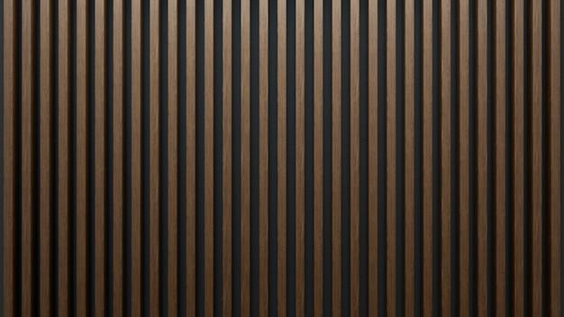 Élégant de lattes de bois sur un mur sombre. feuilles d'acajou.