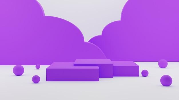 Élégant socle de piédestal de podium abstrait violet à trois cubes