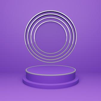 Élégant support de piédestal de podium d'ornement abstrait en argent à cercle unique violet