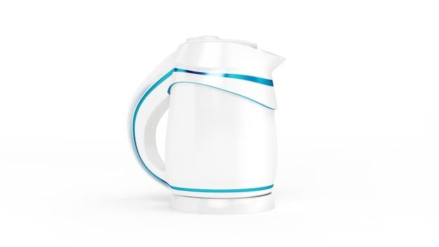 Élégante bouilloire électrique blanche en plastique isolé. illustration 3d, rendu 3d.
