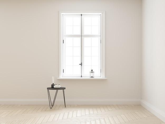 Élégante chambre blanche chic avec fenêtre classique et table basse