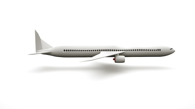 Élément de conception 3d, grand avion réaliste, transport aérien. objet de conception publicitaire, vue latérale.