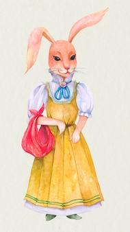 Élément de conception de lapin de pâques portant une robe vintage