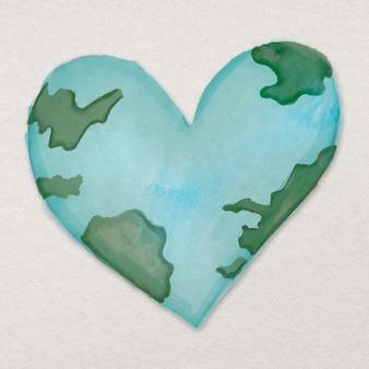 Élément de design du monde en forme de coeur