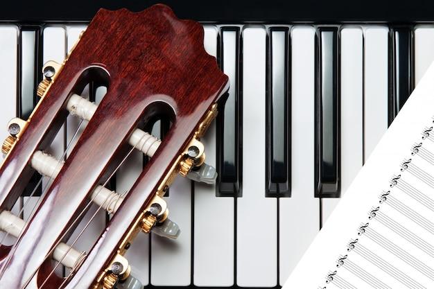 Élément de la guitare au piano