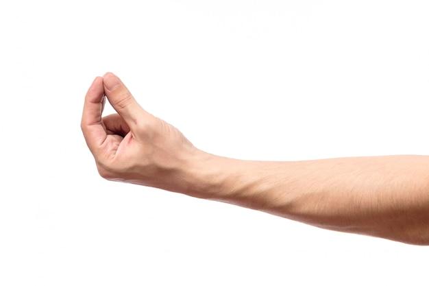 Élément invisible de mesure de la main de l'homme isolé