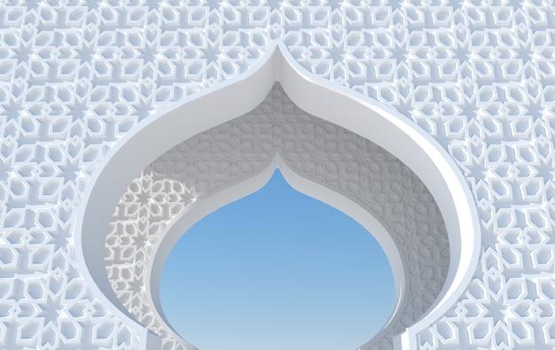 Élément de mosquée de rendu 3d en arabe complexe