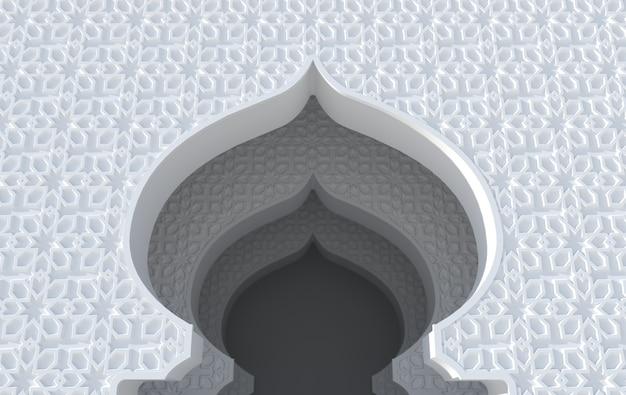 Élément de mosquée de rendu 3d dans un style architectural arabe et islamique complexe