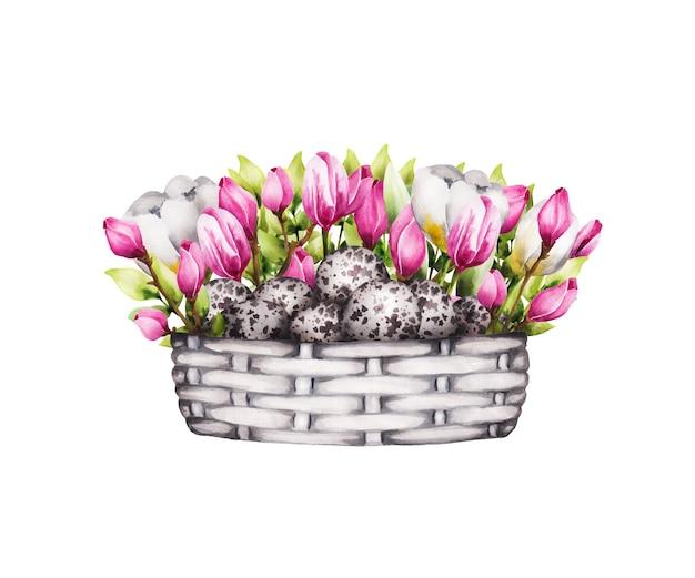 Élément de pâques, panier de fleurs et oeufs de caille