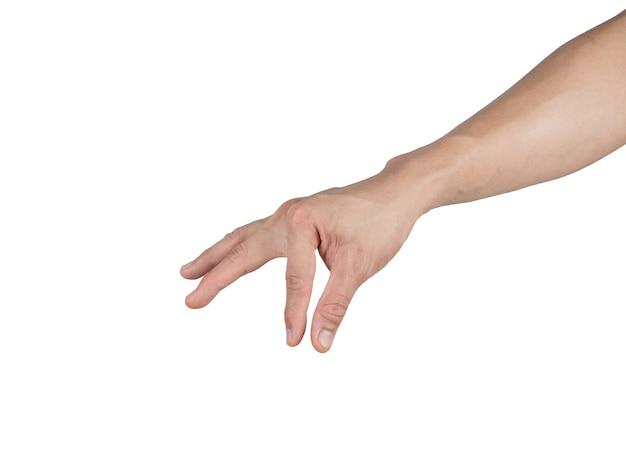 Élément de prise de main par doigt sur fond isolé blanc