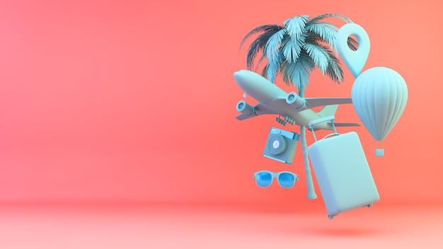 Éléments de concept de voyage rendu 3d