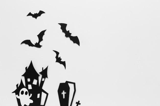 Éléments de fête d'halloween sur design plat