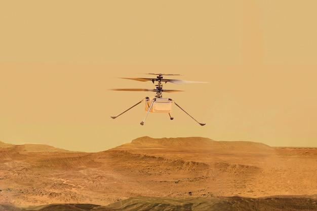 Éléments d'hélicoptère de droneingenuity de mars de cette image fournie par l'illustration de la nasa d