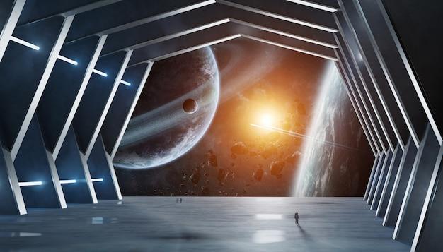 Éléments intérieurs de vaisseau spatial hall énorme de cette image fournie par la nasa