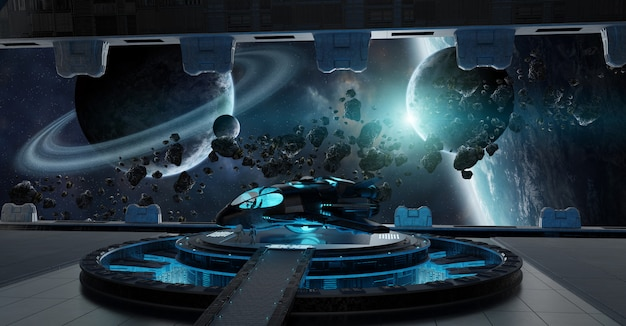 Éléments intérieurs de vaisseau spatial de piste d'atterrissage de cette image fournie par la nasa