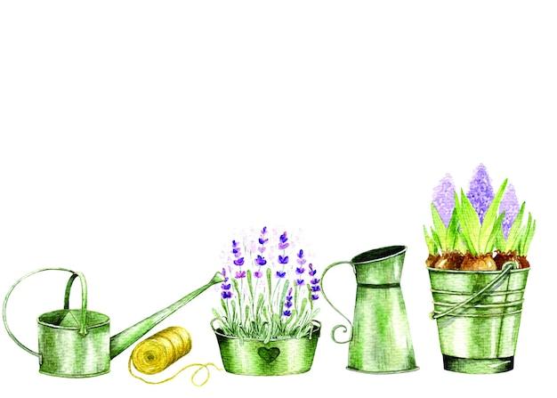 Éléments de jardin aquarelle dessinés à la main avec des pots, des fleurs, des outils de jardin, une clôture en bois et un nichoir.