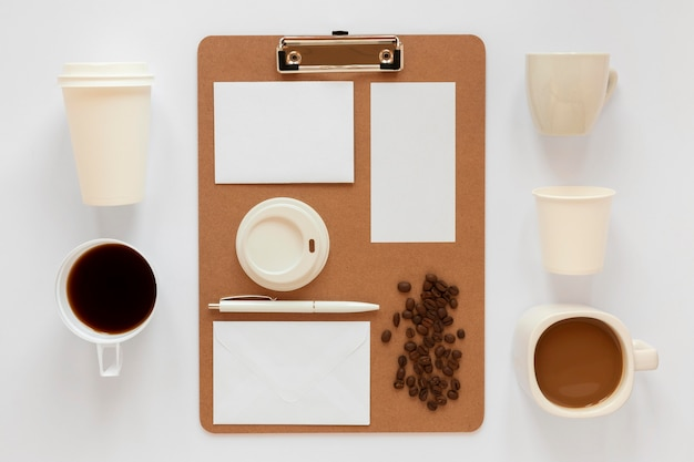 Éléments de marque de café vue de dessus