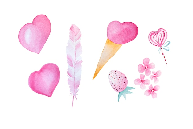 Éléments roses dessinés à la main aquarelle