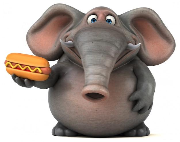 Éléphant 3d amusant tenant un hot dog