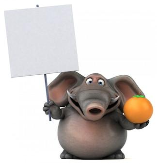 Éléphant 3d amusant tenant une orange et une pancarte vierge
