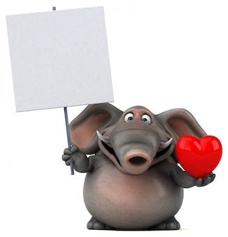 Éléphant 3d amusant tenant une pancarte blanche et un coeur