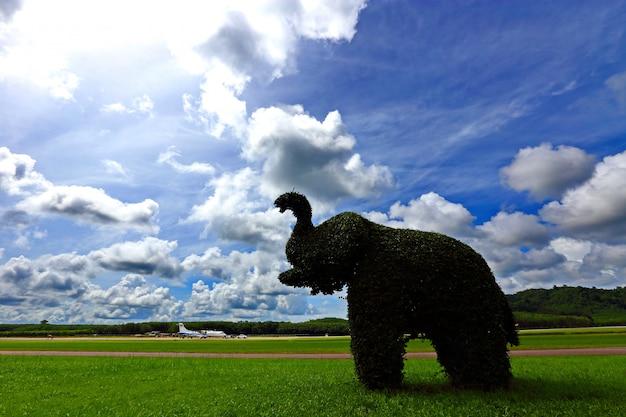 Éléphant fait en pliant un arbre en fil métallique, sur un grand champ d'herbe verte