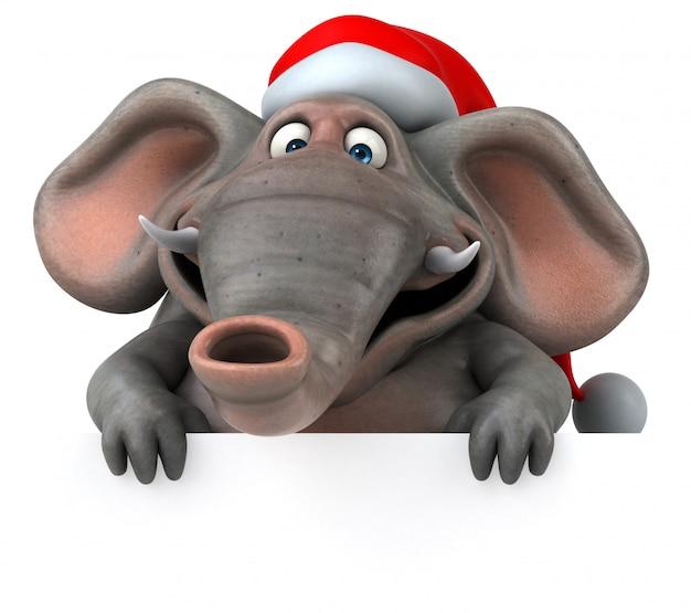 Éléphant illustré amusant en 3d avec le chapeau du père noël pointé