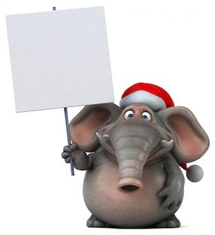 Éléphant illustré amusant 3d avec chapeau de père noël tenant une pancarte blanche