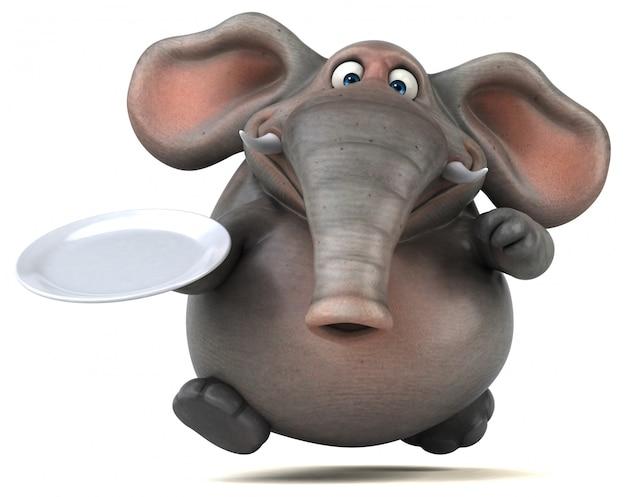 Éléphant illustré amusant 3d tenant une assiette vide