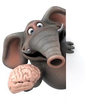 Éléphant illustré amusant 3d tenant un cerveau