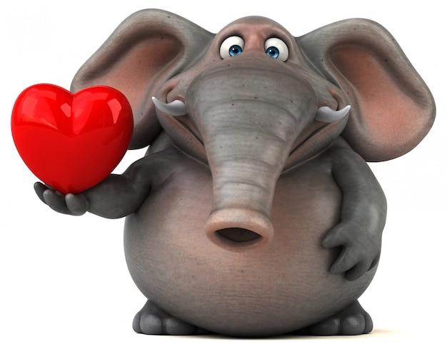 Éléphant illustré amusant 3d tenant un coeur