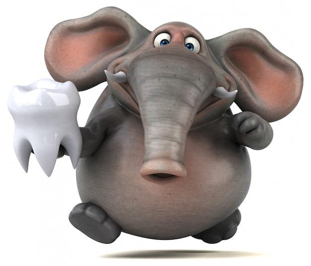 Éléphant illustré amusant 3d tenant une dent