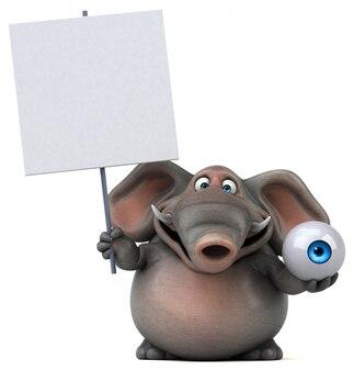 Éléphant illustré amusant 3d tenant un globe oculaire et une pancarte vierge