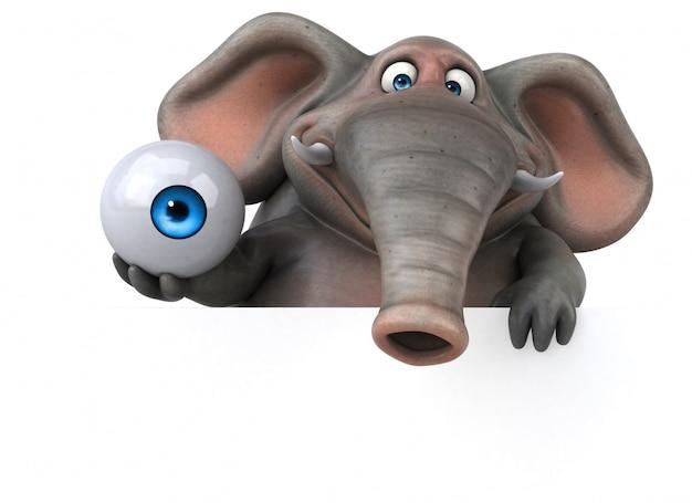 Éléphant illustré amusant 3d tenant un globe oculaire