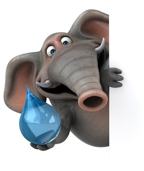Éléphant illustré amusant 3d tenant une goutte