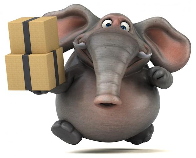 Éléphant illustré amusant 3d tenant une pile de boîtes