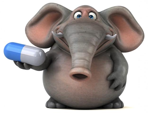 Éléphant illustré amusant 3d tenant une pilule