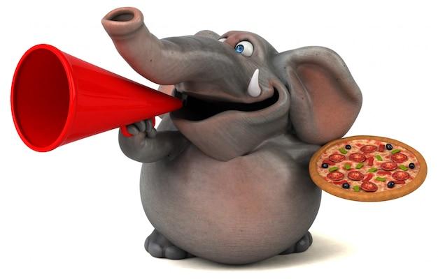 Éléphant illustré amusant 3d tenant une pizza et un mégaphone