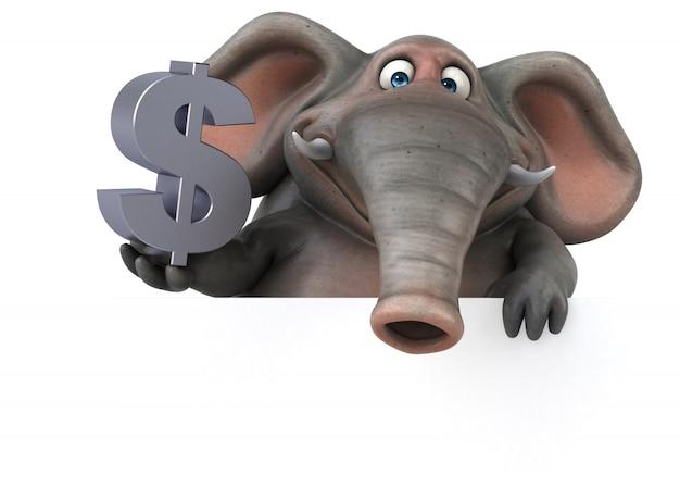 Éléphant illustré amusant 3d tenant un signe dollar