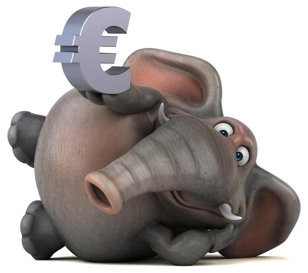 Éléphant illustré amusant 3d tenant un signe euro