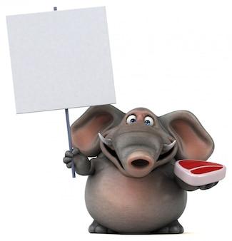 Éléphant illustré amusant 3d tenant un steak et une pancarte vierge