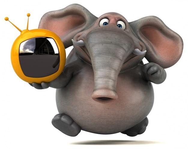 Éléphant illustré amusant 3d tenant une télévision
