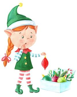 Elfe de fille de noël aquarelle avec baguette magique