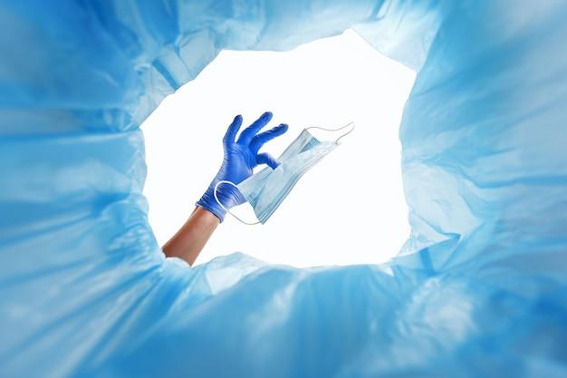 Élimination du masque médical de protection usagé dans le conteneur à déchets.