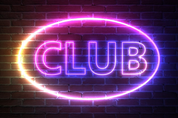 Ellipse neon light frame avec club sign devant le mur de briques. rendu 3d