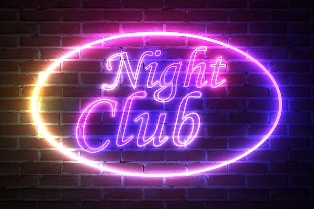 Ellipse neon light frame avec night club sign devant le mur de briques. rendu 3d