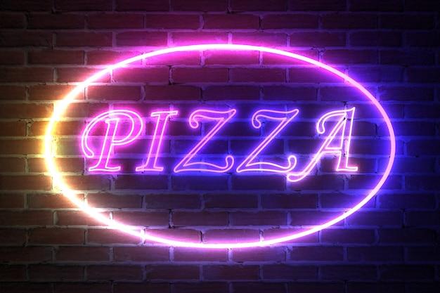 Ellipse neon light frame avec pizza sign devant le mur de briques. rendu 3d